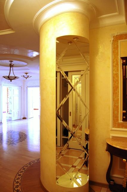 Зеркальная плитка на колонне, зеркальная колонна, с установкой , Киев