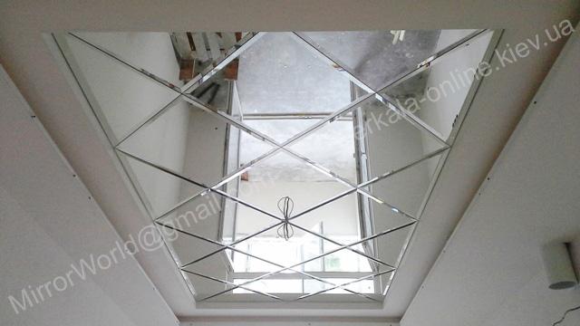 Завершенный монтаж зеркального панно на потолке