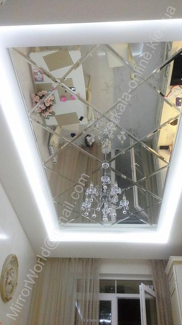 Зеркальные панно на кухонном потолке